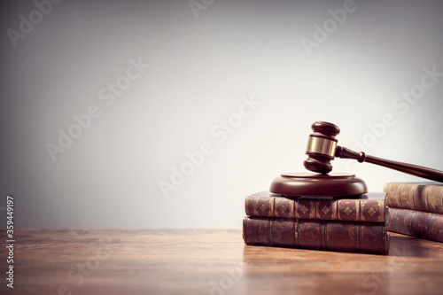 Judge gavel and law books in court background with copy space Canvas Print