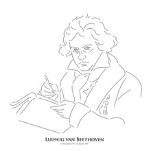 Ludwig Van Beethoven (17 December 1770 – 26 March 1827) A Master Of Historical Music. Line Drawing Portrait Illustration.