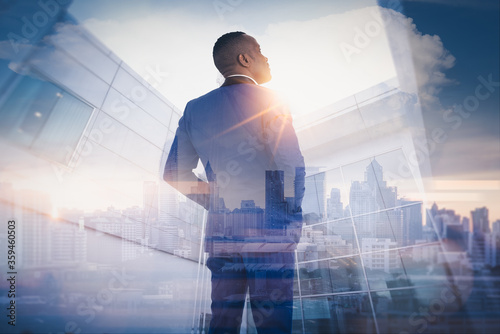business man looking at the city