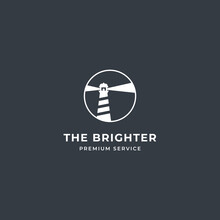Lighthouse Tower Island Logo With Searching Light And Rock Coral. Premium Vector