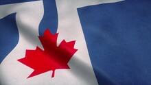 Flag Of Toronto Waving In Wind...