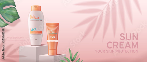 Obraz Sunscreen cream banner ads on square stage with tropical leaves - fototapety do salonu