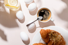 Top View Of Chicken Eggs, Wate...