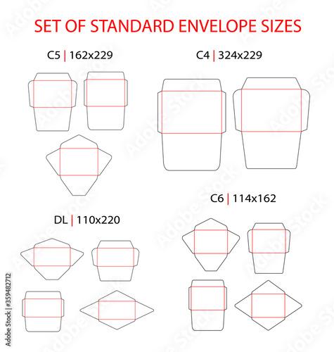 Fotomural Envelope set standard types vector die cut template: DL, C6, C5, C4