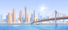 City Bridge Landscape Vector I...