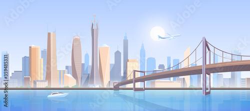 City bridge landscape vector illustration Tablou Canvas