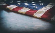 USA Flag, US Of America Sign Symbol On Wood, Closeup View