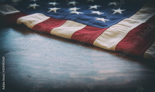 Tablou Canvas USA flag, US of America sign symbol on wood, closeup view