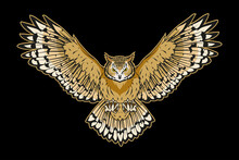 Vector Illustration Of A Owl. ...