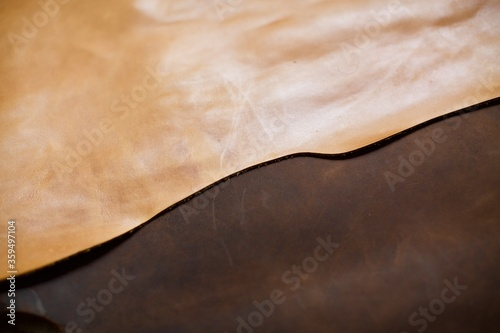 Camel and brown color real leather. This leather is used in the production of handbags, backpacks, shoes and accessories etc. One piece leathers.
