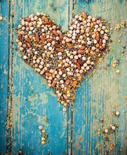 Heart Shape Made Of Raw Legume...