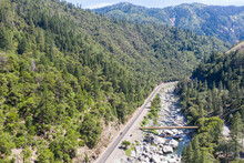 The Feather River Flows Through The Scenic Feather River Canyon In Northern California. This Rugged, Mountainous Area In The Sierra Nevadas Was A Center For Gold Mining During The 19th Century.