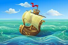 Vector Wooden Ship. Boat Schoo...