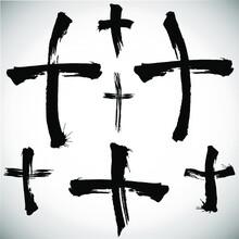 Grungy Religion Symbol. Set Of...