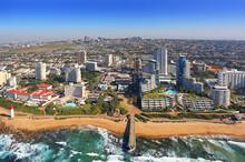 Durban, Kwa-Zulu Natal / South Africa - 07/23/2019: Aerial Photo Of Umhlanga Lighthouse And Beachfront