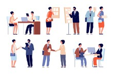 Hr Employer Interview. Business Team And Office Worker. Seekers With Cv Application And Recruitment Service. Lawyer Consultation Vector Set. Job Career Interview, Employer And Employee Illustration