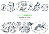 French desserts set with macaron, canele, lemon pie, croissant, apple pie, paris brest, fig cake. French cuisine top view frame. Food menu design template. Hand drawn sketch vector illustration