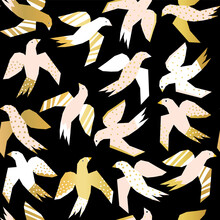 Flying Birds With Faux Gold Fo...