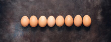 Brown Chicken Eggs In A Row On...