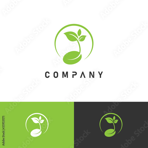 Tablou Canvas Creative growing seed logo for agriculture, farming, gardening business