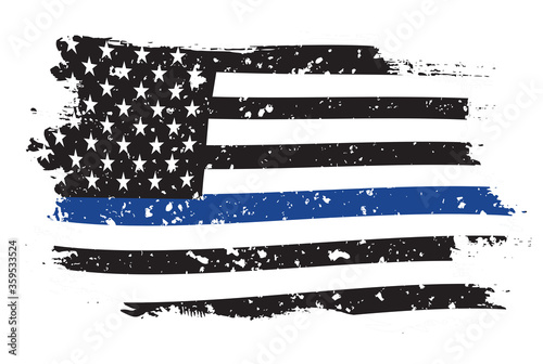 Fotografía An American flag symbolic of support for law enforcement,grunge usa flag vector
