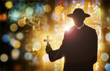 Silhouette Of A Priest With Th...