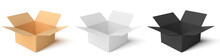 Cardboard Box Of 3 Types: Color, Black, White. Empty Open Boxs Isolated On White  Background. Vector Illustration.