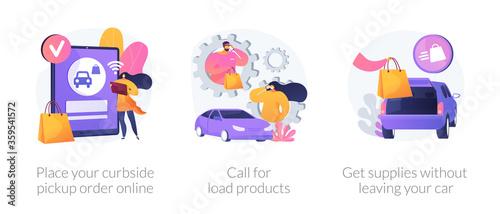 Valokuva Curbside pickup abstract concept vector illustration set