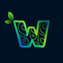 Letter W Logo With Eco Waves Pattern.