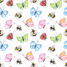 Summer Cute Watercolor Seamless Pattern With Bugs And Insects - Flying Bumblebee, Butterfly, Ladybug, Isolated On White Background. Hand Drawn Natural Illustration. Pretty Childish Print.
