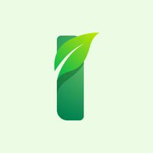 Ecology I Letter Logo With Green Leaf.