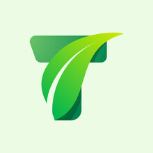 Ecology T Letter Logo With Gre...