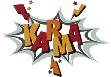 Karma Isolated Text Made In Pop Art Style. Hand Lettering Text Illustration. Template For Card, Poster.