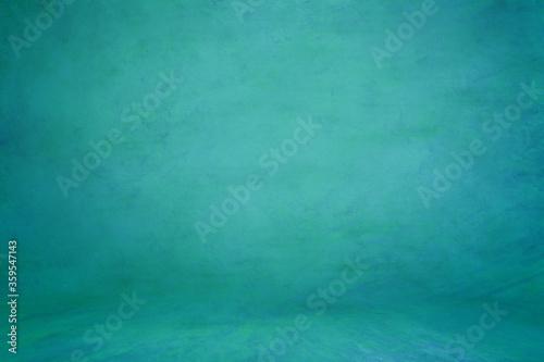 Green aquamarine textured background; embossed photographic studio backdrop Billede på lærred