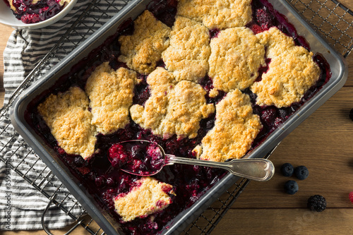 Homemade Berry Cobbler with Ice Cream