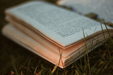 Old Book On The Grass