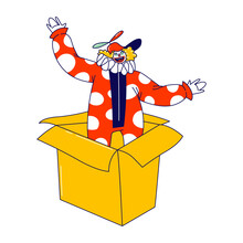 Clown Character Pop Up From Huge Carton Box. Big Top Circus Show Artist, Jester Performer, Entertainer In Funny Costume And Hat With Propeller, Wig, Makeup And Fake Nose. Linear Vector Illustration