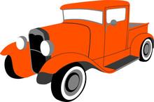 Vector Illustration Of An Orange 1930's Classic Pickup Truck.