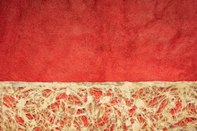Amate Bark Paper With Lace Design Against Red Huun Paper.  This Ancient Paper Dates Back To Pre-Columbian And Meso-American Times And Is Still Hand Made By The Otomi Indian Artisans Of Mexico.