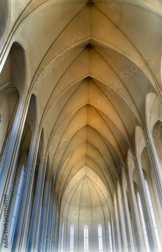 Fotografie, Obraz Tall Columns Ceiling Hallgrimskirkja Church Reykjavik Iceland