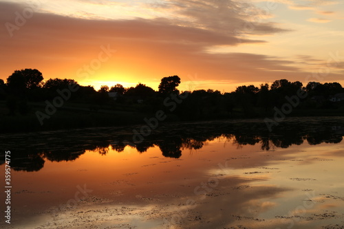 Fototapety, obrazy: sky over the lake and field during sunset