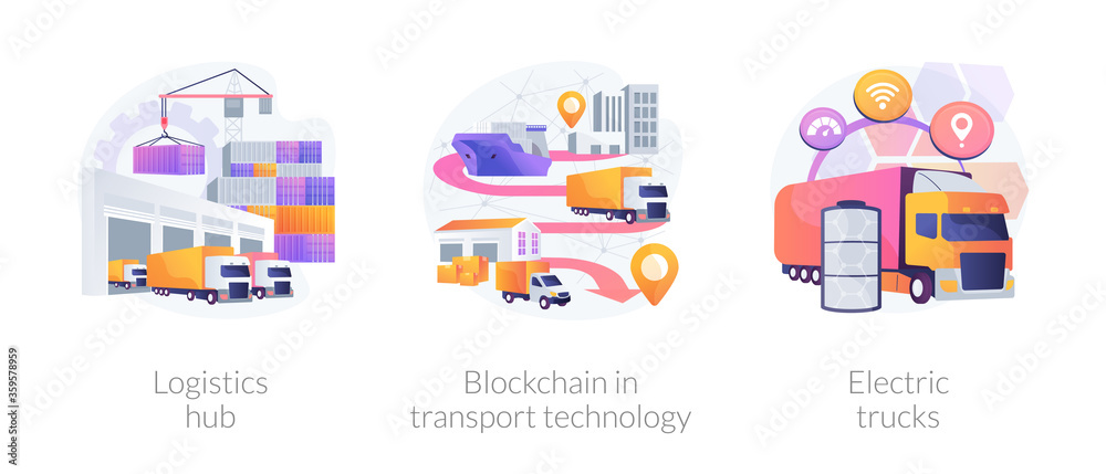 Fototapeta Global logistics center abstract concept vector illustration set. Logistics hub, blockchain in transport technology, electric trucks, commercial warehouse, automated freight track abstract metaphor.