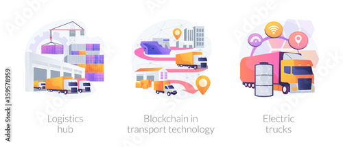 Global logistics center abstract concept vector illustration set. Logistics hub, blockchain in transport technology, electric trucks, commercial warehouse, automated freight track abstract metaphor. - 359578959
