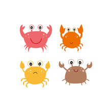 Four Fun Colored Crabs On A White Background. Children's Cartoon Vector Illustration. Marine Clipart. A Design Element For A Children's Book, Print For Fabric, Textiles, Clothing, Bags, Or Books.