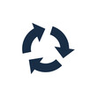 Flat icon of cyclic rotation, recycling recurrence, renewal. Solid style. EPS 10.