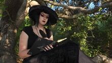 A Wiccan Teen Wearing A Black Dress And A Witches Hat Sits In A Tree Writing In Her Book. Wiccan And Pagan Beliefs Are Gaining Popularity Among Generation Z Youth.