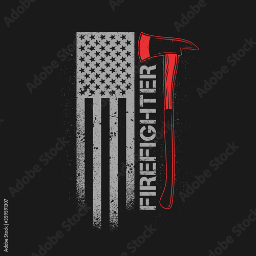 Photo fire fighter axe with american flag grunge