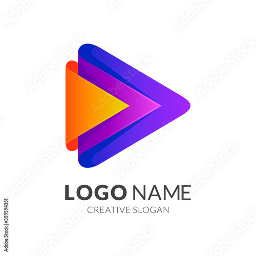 Fotografija Arrow media play logo, 3d colorful logo style