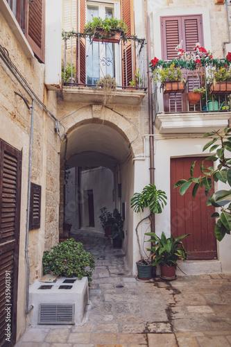 Leinwand Poster Alleyway of Polignano. Puglia. Italy.