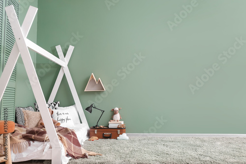 Photographie Interior of modern children's room with comfortable bed